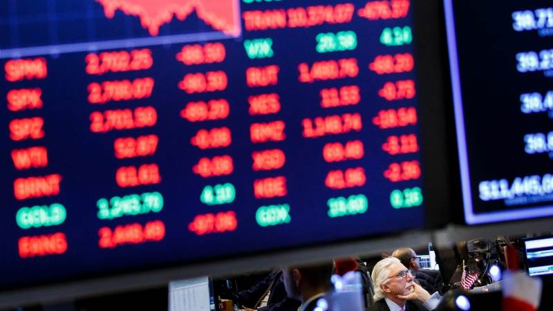 Wall Street closes in the red as volatile week ends