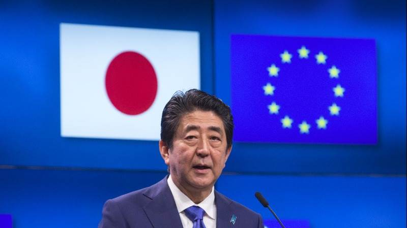 Abe: Japan, EU, US must protect world order