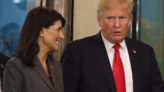 Trump tweets Haley's comment on Iran